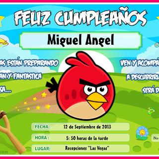 Tarjeta de Cumpleaños de Angry Birds, listo para Imprimir
