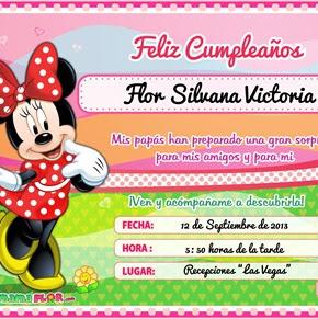 Tarjeta de Cumpleaños de Minnie Mouse — Invitaciones de Fiesta Infantil para imprimir