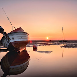 Meols sunset by Gary Bawden - Transportation Boats ( water, uk, sunset, beach, boat )