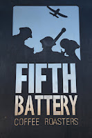 Close up of the Fifth Battery sign