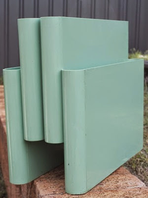 Blue green seafoam 4676 Portariviste magazine rack by Giotto Stoppino for Kartell Italy 2