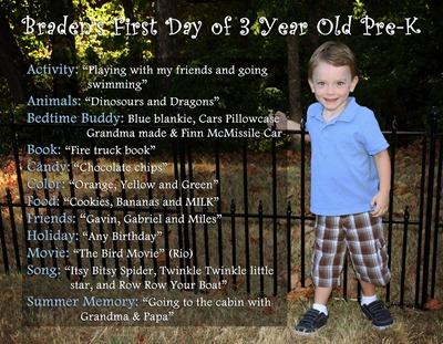 Braden's 1st day of school