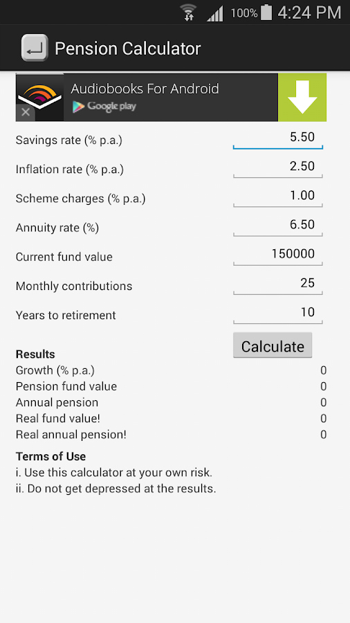 Tangerine retirement calculator payouts
