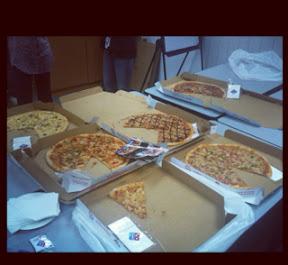 Domino's pizza being eaten