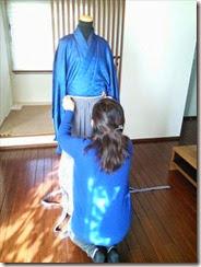 男性着物の着付け練習 (1)