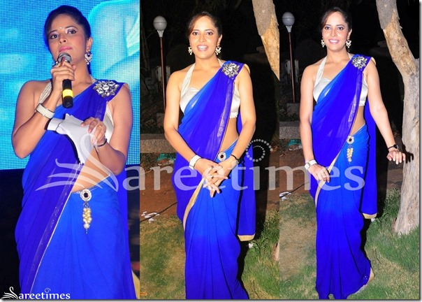 Anasuya_Blue_Plain_Saree