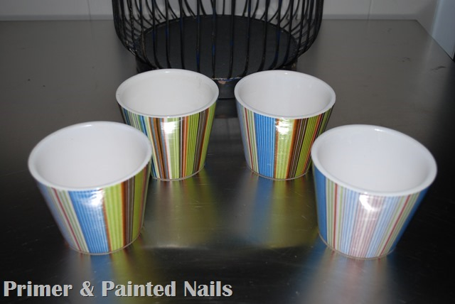 Dollar Store Pots 3 - Primer & Painted Nails
