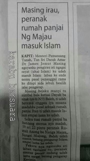 Di Sarawak, agama Islam memecah belahkan hubungan?