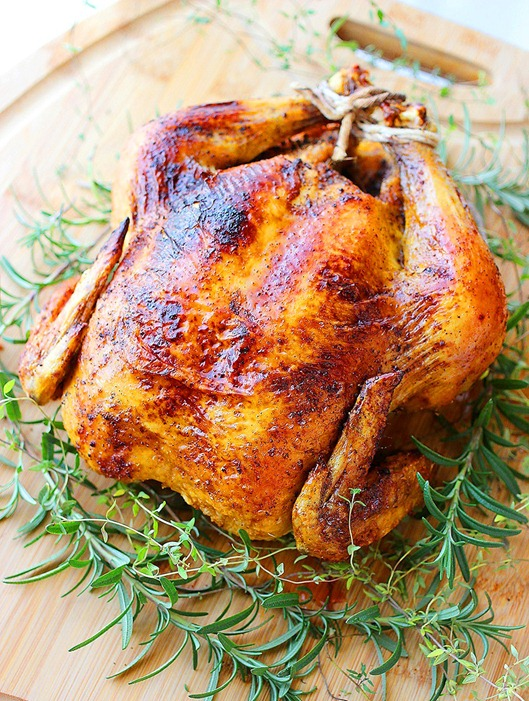 Easy Herb Roasted Chicken – Try this easy method for a tender, crispy roasted chicken with fresh herbs and simple ingredients! | thecomfortofcooking.com
