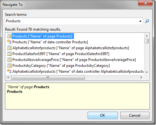 Navigate To with 'Products' as the search term.