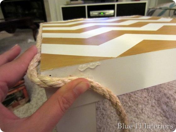 table with hot glue