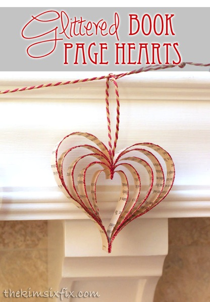 Glittered book page hearts