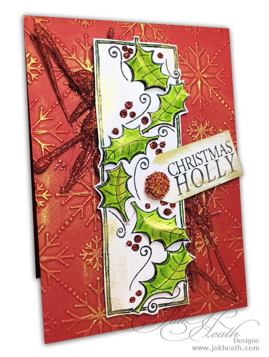 Stix2 and Woodware Glitter Holly Card