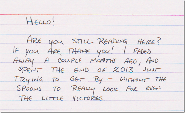 Hello! Are you still reading here? If you are, thank you! I faded away a couple months ago, and spent the end of 2013 just trying to get by - without the spoons to really look for even the little victories.