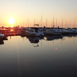 sunrise at port credit marina in Mississauga, Ontario, Canada
