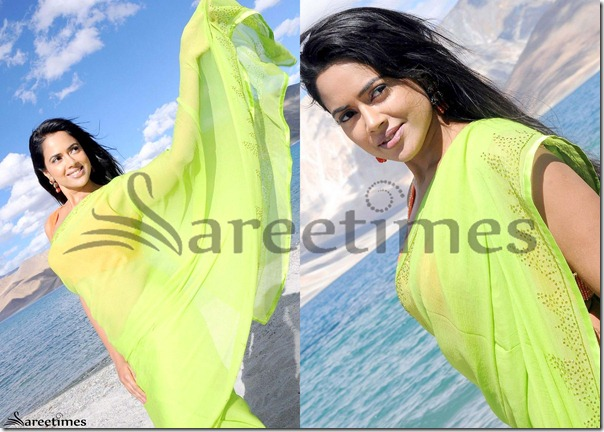 Sameera_Reddy_Green_Georgette_Saree