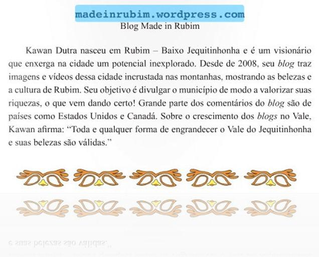 Referência ao autor e ao blog Made in Rubim - texto Erick Sanderson