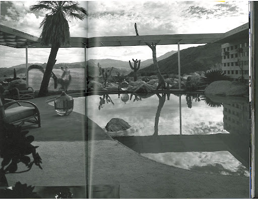 This is a stunning black and white shot looking out at the Loewy House pool and the vast stretch of desert, mountain range and rolling clouds beyond. Those large blown-glass vessels to the left and far background also catch my eye. The owners filled them with pink-colored water - I'd like to try this on a smaller scale in the powder room.