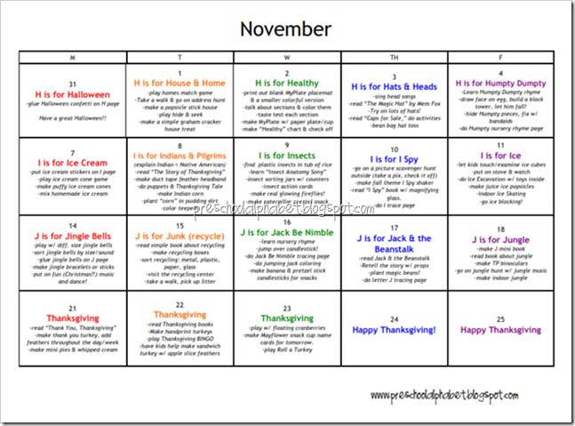Calendar Ideas For November : Preschool alphabet plan for november