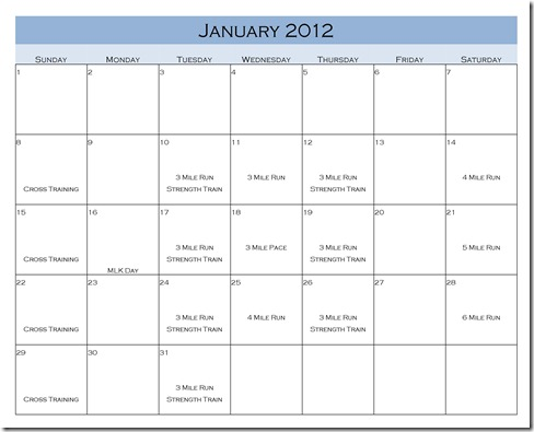 Jan Run Schedule