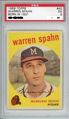 1959 Topps 40 Warren Spahn born in 1931 alternate front