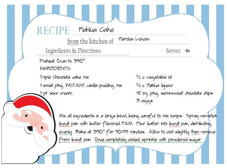 Holiday Cards & More Blog Hop Recipe Card