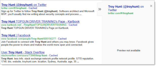 Google preview of @troyhunt's Twitter account not working