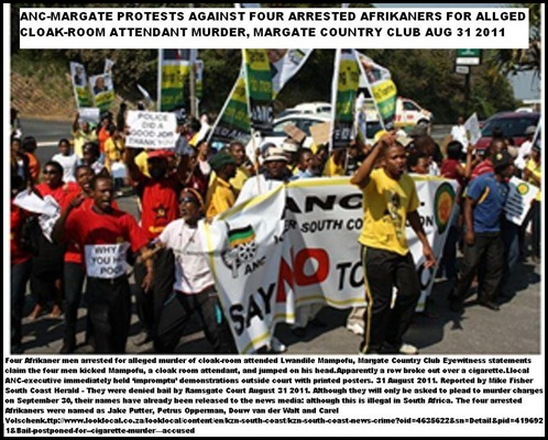 ANC MARGATE PROTEST AGAINST 4 AFRIKANERS ARR ALL_MURDER COUNTRYCLUB