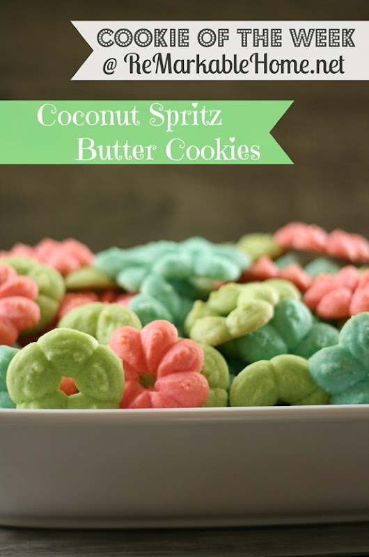 Cookie of the Week- Coconut Spritz Butter Cookies @ ReMarkable Home