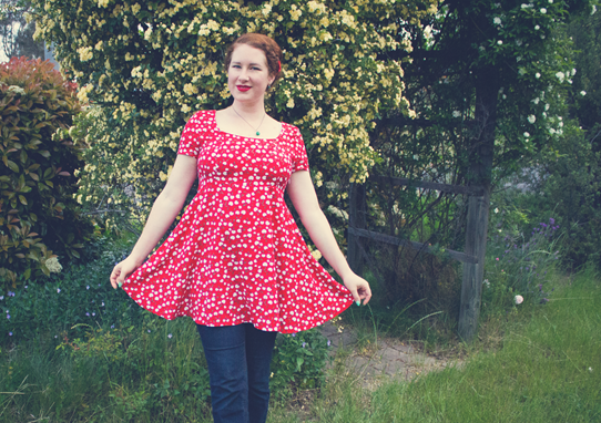 Rockabilly inspired with cherry print and scarlet | Lavender & Twill