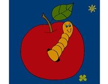 manzana-con-gusano-comida-frutas-pintado-por-jugoes-9742046
