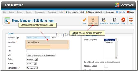 menu Joomla! 1.7 - edit menu Laman Utama