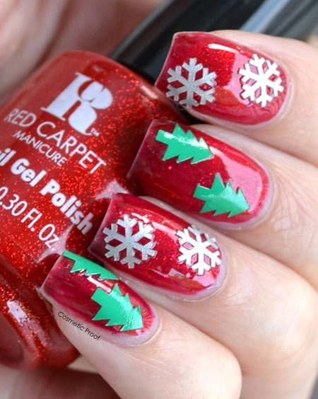 Red Carpet Manicure Ruby with Beyond the Nail Christmas Decals