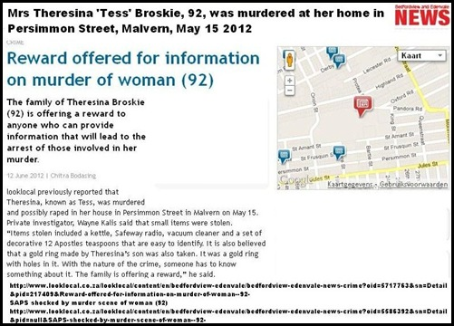 BROSKIE Theresina TESS 92 MURDERED raped Persimmon St Malvern MAY152012 pi WayneKalis REWARD