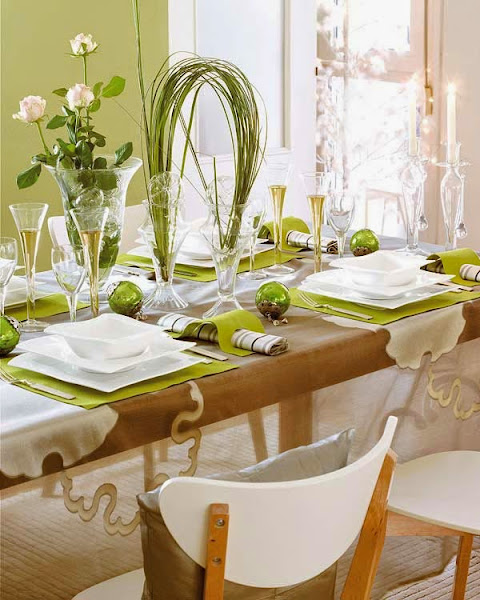 Christmas Table Decor Green Table Decorating Ideas