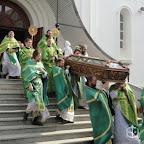 Вынос из храма мощей Преподпобного Кукши в день торжественной литургии 29 сентября