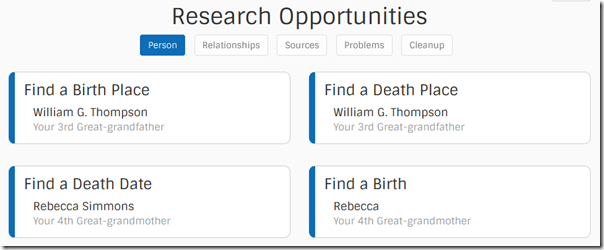 Find-a-Record research opportunities: persons missing information