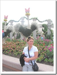 Florida vacation Epcot topiary ostriches and terry