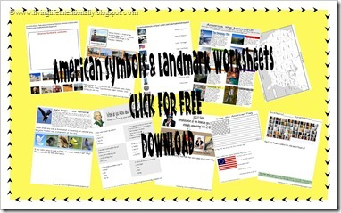 FREE Download - 10 American Symbols & Landmarks worksheets from Living Life Intentionally