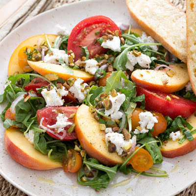 Tomato, Peach & Goat Cheese Salad with Roasted Purple Garlic Bread