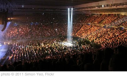 'Spotlight on Michael Buble's second stage at Rod Laver arena.' photo (c) 2011, Simon Yeo - license: http://creativecommons.org/licenses/by/2.0/