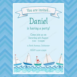 IN013 Nautical etsy 2 printable birthday party invitation boat