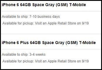 Apple Storen (US) saatavuustietoja iPhone 6 ja iPhone 6 Plus puhelimille