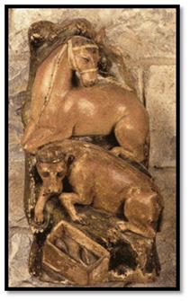 Buey y mula en Retablo de la Adoración de los Reyes Magos del sig. XIV