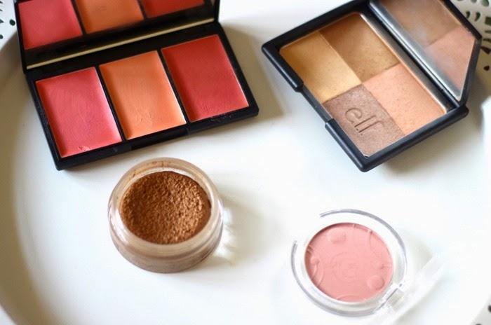 sleek blush palette californ.i.a, elf warm bronzer, bourjois bronzing primer essence silky touch blusher