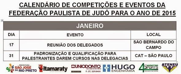 Ano 2015 - Calendario Evento de Judo - Janeiro