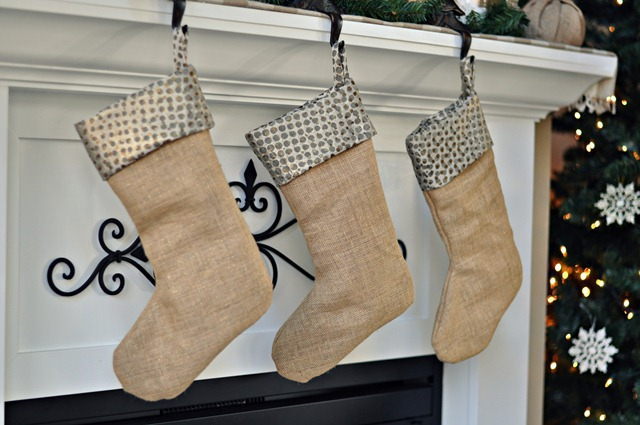 Burlap and Gold Stockings from Decor and the Dog