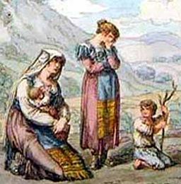 Madre con due bambini e una ragazzetta (part)
