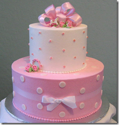 Pink Polka Dot Baby Shower Cake for baby girls