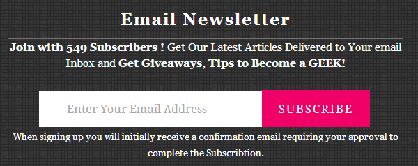 email subscription box